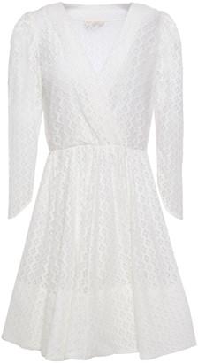 Maje Wrap-effect Lace Mini Dress
