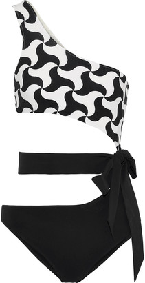 Emma Pake Fabia One-shoulder Belted Cutout Printed Swimsuit