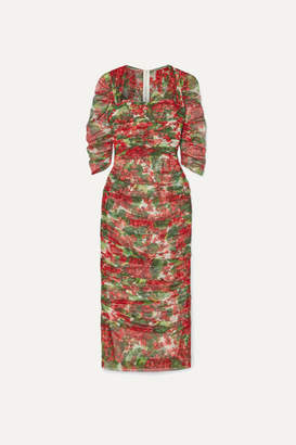 Dolce & Gabbana Ruched Floral-print Cotton-tulle Midi Dress - Red