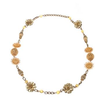 Dolce & Gabbana Crystal Flower Filigree Gold Tone Long Station Necklace