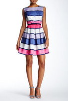 Taylor Striped & Belted Party Dress (Petite)