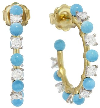 Irene Neuwirth 3mm Kingman Turquoise Sphere Full Cut Diamond Yellow Gold Hoop Earrings