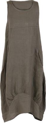 LushStyleUK New Ladies Italian Sleeveless Plain Linen Dress Women Lagenlook Dress Plus Sizes (Charcoal)