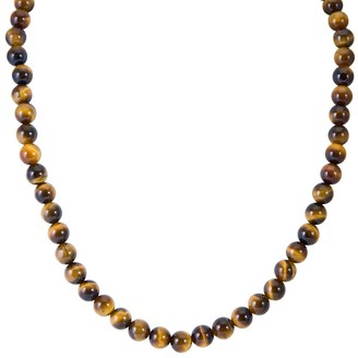 V3 Jewelry Sterling Silver 8mm Tiger Eye 18 or 20 inch Bead Necklace