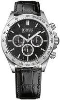Hugo Boss men's stainless steel black leather strap watch