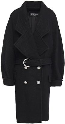 Balmain Oversized Belted Wool-blend Tweed Coat