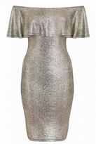 Quiz Gold Textured Frill Bardot Midi Dress