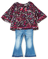 Jessica Simpson Baby Girls 12-24 Months Floral-Printed Top & Flare-Leg Jeans Set