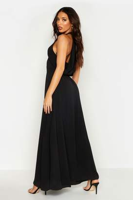 boohoo Woven V Neck Cowl Back Maxi Dress