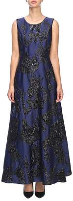 Moschino Dress Long Jacquard Dress With Micro Applications