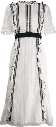 Self-Portrait lace frilled midi dress