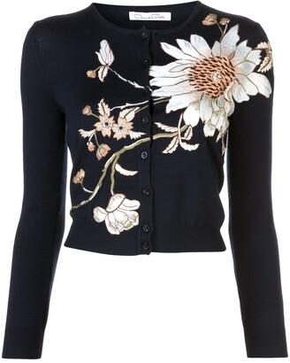 Oscar de la Renta Floral-Embroidered Cardigan