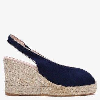 Carmen Saiz Navy Suede Peep Toe Wedge Espadrille Sandals