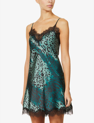 Sainted Sisters Scarlett floral-print lace-trimmed silk chemise