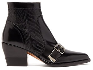 Chloé Rylee Buckled Leather Ankle Boots - Womens - Black