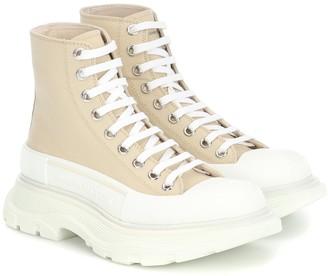 Alexander McQueen Canvas platform ankle boots