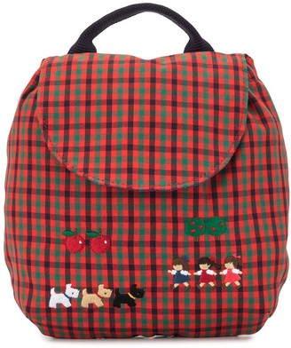 Familiar Check Print Applique Backpack