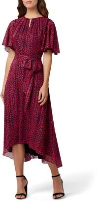 Tahari Metallic Dot Chiffon Midi Dress