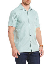 Hart Schaffner Marx Short-Sleeve Solid Textured Camp Shirt