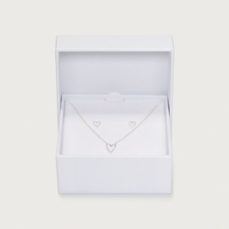 The White Company Heart Necklace & Earrings Gift Set, Silver, One Size