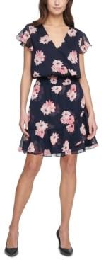 Tommy Hilfiger Floral-Print Chiffon Fit & Flare Dress