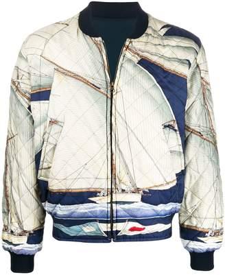 Hermes Pre-Owned 1980s sailboat print reversible bomber jacket