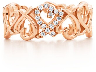 Tiffany & Co. Paloma Picasso Loving Heart band ring in 18k rose gold with diamonds