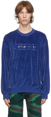 Martine Rose Blue Velour B-Repovesi Sweatshirt