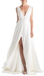 Joanna August Joplin Slit Front Button-Up V-Neck Wedding Dress
