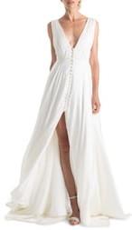 Joanna August Joplin Slit Front Button-Up V-Neck Wedding Dress