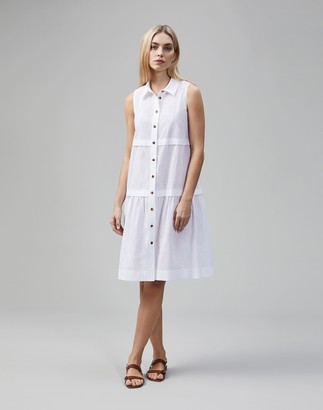 Lafayette 148 New York Micro Grid Cotton Eyelet Serena Shirtdress