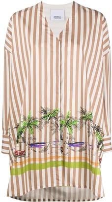 Erika Cavallini oversized striped V-neck shirt