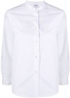 Aspesi Mandarin-Collar Stretch Poplin Shirt