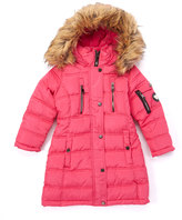 Bebe Fuchsia Five-Pocket Hooded Puffer Coat - Toddler & Girls