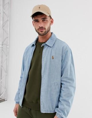 Polo Ralph Lauren Bayport multi player logo lightweight chambray harrington jacket in light wash-Blue