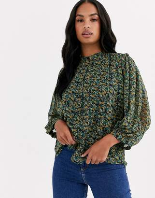 Y.A.S chiffon blouse with high neck and balloon sleeves in green floral-Black
