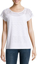 Liz Claiborne Short-Sleeve Lace Knit T-Shirt