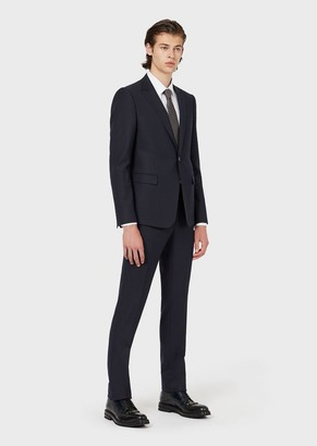 Emporio Armani Slim-Fit, Single-Breasted Suit In A Micro-Textured Blend Of Wool And Silk