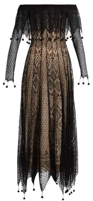 Alexander McQueen Off The Shoulder Pompom Embellished Lace Dress - Womens - Black