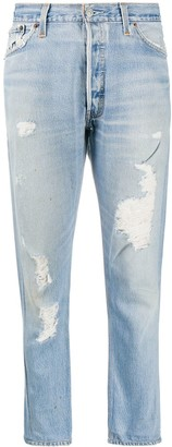 RE/DONE Distressed Straight Leg Jeans