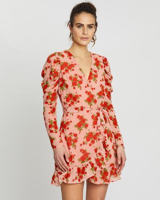 Missguided Puff Sleeve Ruffle Hem Floral Tea Dress