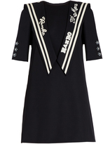 Dolce & Gabbana Embroidered sailor-collar gabardine dress