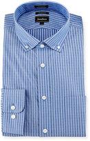 Neiman Marcus Trim-Fit Diamond-Stripe Dress Shirt, Blue
