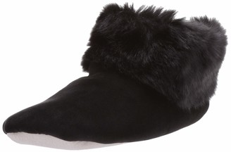 Isotoner Women's Stretch Velour and Faux Fur Sabrine Bootie House Slipper Black