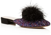 Kate Spade Gala Glitter Feather Pom Pom Mules