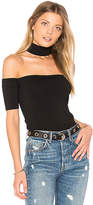 Central Park West Amagansett Cold Shoulder Top in Black