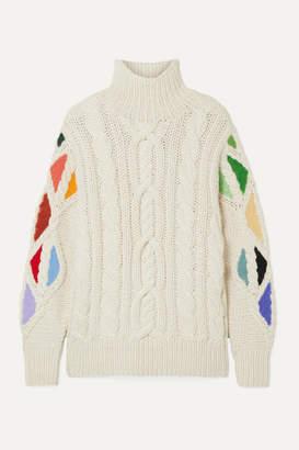 Rosie Assoulin Pain In The Glass Appliquéd Cable-knit Alpaca Turtleneck Sweater - Cream