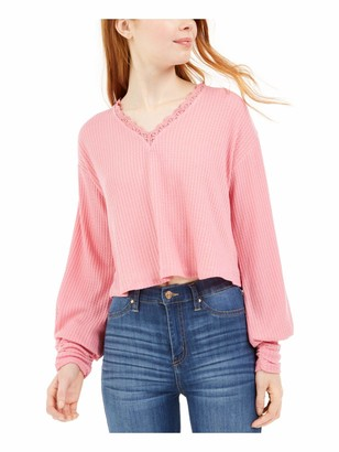 Love, Fire LOVE FIRE Womens Pink Patterned Long Sleeve V Neck Blouse Top Juniors Size: M