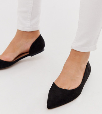 ASOS DESIGN Wide Fit Virtue d'orsay pointed ballet flats in black