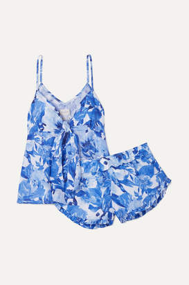 The Lazy Poet - Rosie Floral-print Linen Pajama Set - Blue